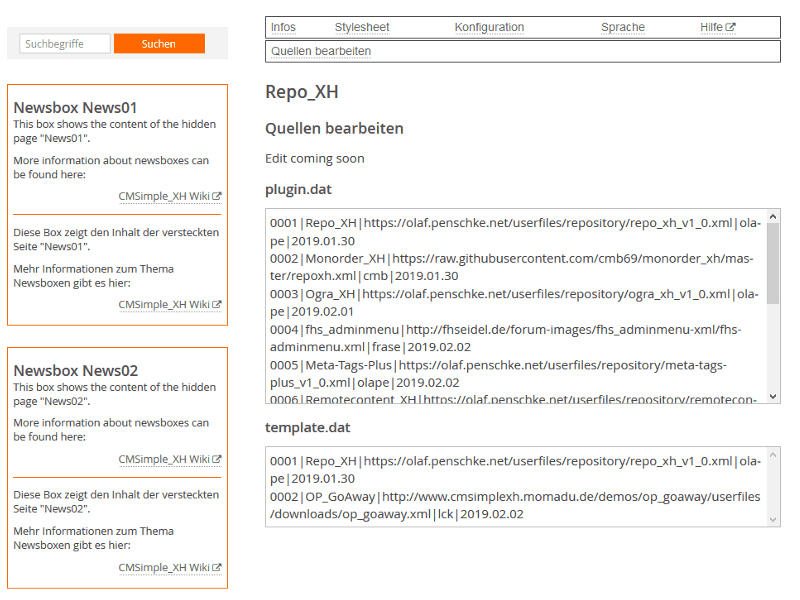 CMSimple_XH | Plugin Repository | Own plugin?